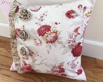 Custom Pillow Cover w/ Ruffle and THREE Rosettes - choose your own fabric and size