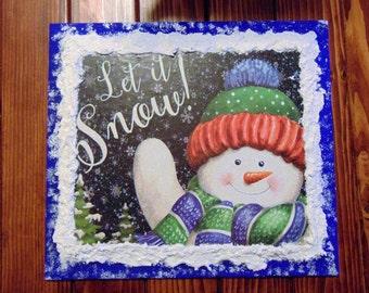 Handmade Wooden Christmas Snowman Sign, Handpainted Christmas Snowman Sign, Snowman Decoration, Snowman Sign, Christmas Sign, Snowman