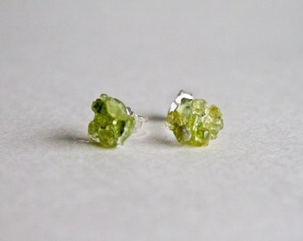 Peridot sterling silver stud earrings -  gemstone stud earring