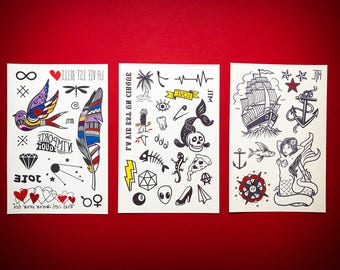 Temporary Tattoos - The Classic tats trio set // The Perfect stocking Stuffers // Gifts for kids and adults.