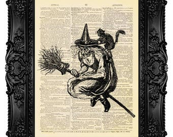 Witch and Cat on a Broom, Halloween Decor - Dictionary Art Print Vintage Upcycled Antique Book Page no. 160