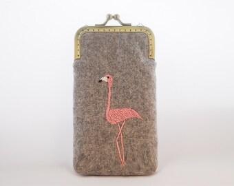 iPhone Case iPhone sleeve gadget case/Glasses Case - Embroidery Flamingo ( iPhone X, iPhone 8, iPhone 8 Plus, Samsung Galaxy S8 etc. )