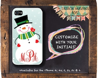 Snowman iPhone Case, Monogram iPhone Case, Holiday iPhone Case, iPhone 4, 4s, iPhone 5, 5s, 5c, iPhone 6, 6s, 6 Plus, SE, iPhone 7, 7 Plus