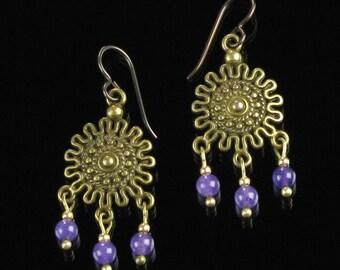 Chandelier Earrings, Brass Boho Jewelry Hippie Earrings, Amethyst & Brass Earrings, Niobium earrings, Unique Jewelry Birthday Gift for Women