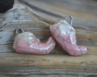 Elf Shoes- Handmade Porcelain Raku Bead Pair