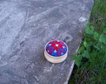 "Pincushion ""Red  star"". Ready to ship. Pins & Nidles. Handmade. Hand Embroideri. Embroideri pincushion. Blue. Red. White. Haberdashery."