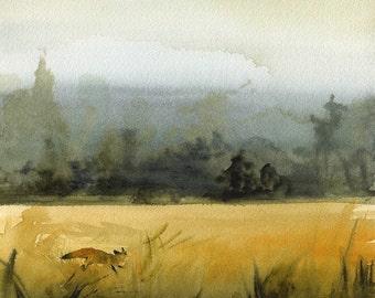 """landscape painting, landscape watercolor, landscape art print, abstract landscape, fox watercolor, """"March Fox""""  Print"""