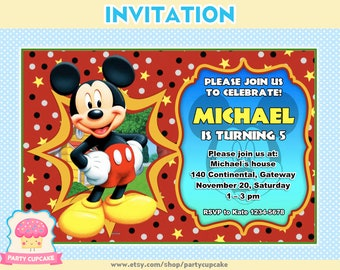 80% OFF SALE Ticket Invitation Mickey Mouse - Custom Invitation - PDF File - High Resolution - Holiday Party