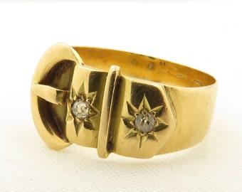 Antique 1900's 14 kt Gold Buckle Ring Set w/2 Small Mine Cut Diamonds / 6.5