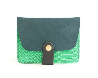 "Cardholder Trégana - peacock blue and green ""croco"""