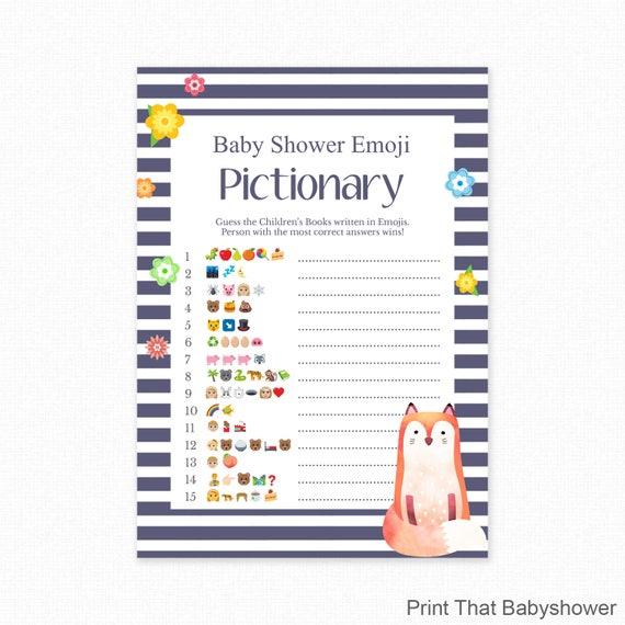 Perfect Baby Shower Game   Fox Shower   Emoji Pictionary   Fox Baby Shower  Printable   Baby Shower Emoji Game   Blue Fox
