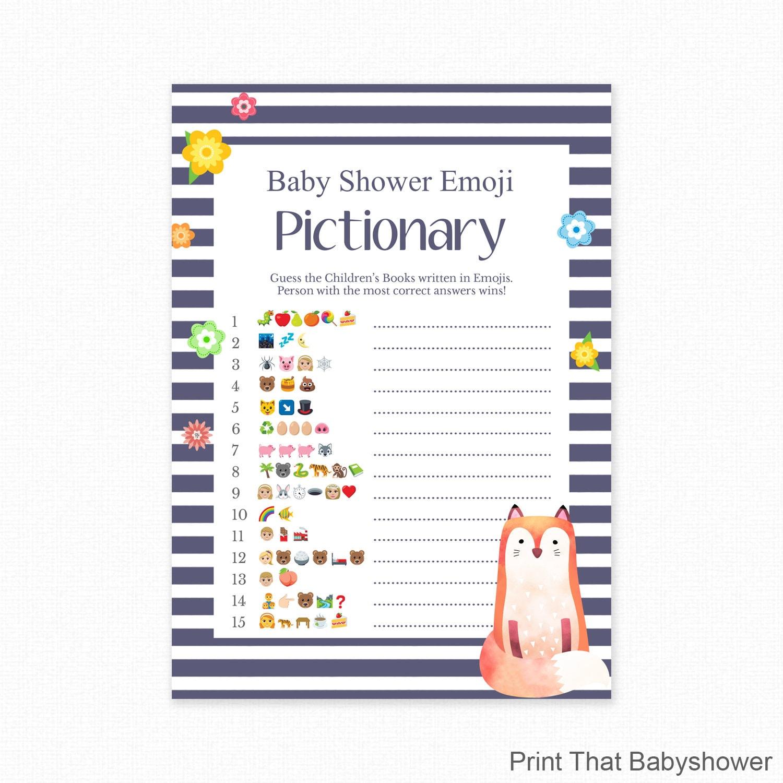 Baby Shower Game Fox Shower Emoji Pictionary Fox Baby