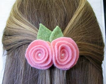 Felted Rose Hair Pin - Handmade -Recycled-Wool-Eco friendly-Upcycled