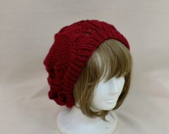 Knit Slouchy Hat - Red Oversized Beanie - Crimson Lace Beret - Slouch Dread Tam - Baggy Beanie Hat