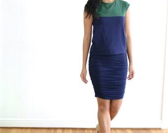 Bamboo Pencil Skirt, Shirred Pencil Skirt, Eco friendly Jersey Skirt, Organic Cotton Skirt, Bamboo Skirt, Fitted Skirt - SALE, CLEARANCE