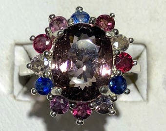 Purple tourmaline and sapphire silver ring size 7.25