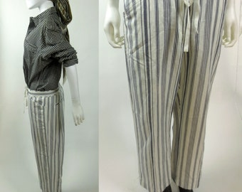 90s cropped low slung drawstring waist black and white striped pants trousers gift for her