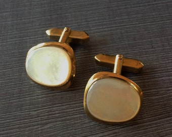 Vintage Mother of Pearl in Gold Tone Setting French Cuff Men's Cuff Links