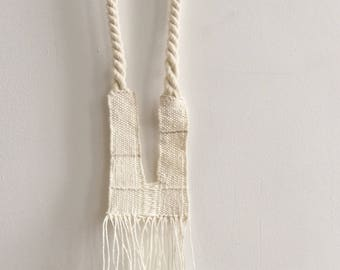 White linen necklace, weaving loom jewelry, ethical fashion, linen necklace, handwoven necklace