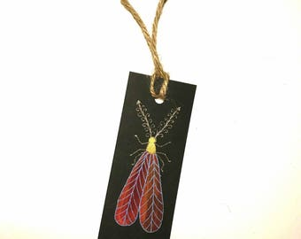 Handpainted Bookmark of Red-Winged Insect