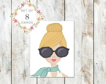 Set of 8 Portrait Stationery -Cotton Stationery - Blonde Hair and Big Glasses Birthday Card - Messy Hair Don't Care