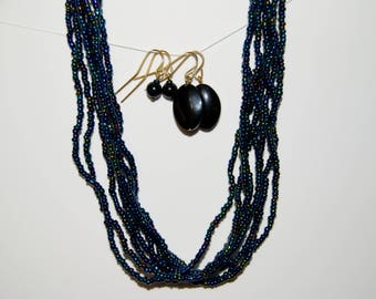 Dark Blue Multi Strand Necklace Set