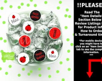 Ladybug Chocolate Kiss Stickers - Ladybug Stickers - Ladybug Candy Stickers - Ladybug Favor Stickers - Digital & Shipped Available