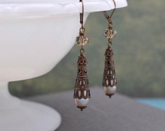 Antiqued Brass Filigree Long Drop Pearl Earrings