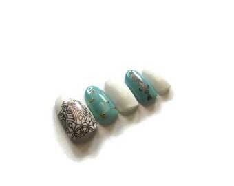 BOHO NAILS - press ons - fake nails - false nails - stiletto - round - coffin - teal - aqua - white - gold - brown - glitter - bohemian