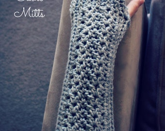 Download Now - CROCHET PATTERN Simple Cable Mitts - One Size Fits All -  Ladies - Pattern PDF