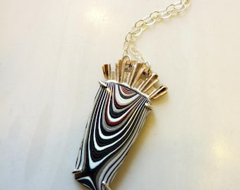 Fordite Corona Pendant Necklace, Detroit Agate, Bronze Art Deco Crown, Sterling Silver Prong Setting, Recycled Modern Jewelry, Stripes, OOAK