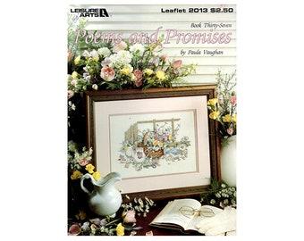Poems and Promises Cross Stitch Leaflet, Floral Cross Stitch, Country Cross Stitch, Flowers Cross Stitch, Paula Vaughan, NewYorkTreasures