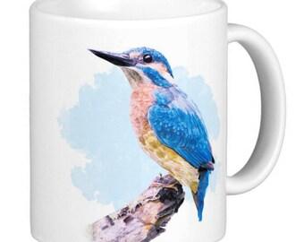 Kingfisher Watercolor Print , Fine Art, Gift Mug