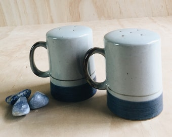 vintage ceramic salt and pepper shakers // salt and pepper shakers with handles