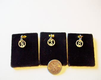 Vintage Charm Initials J  N  B  Pendents in Sterling Silver Vintage 1960 1970  Free Shipping in the USA