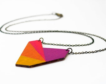 Geometric necklace, wooden pendant - purple, red, orange, yellow - minimalist, modern jewelry - color blocking