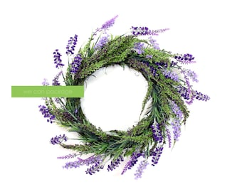 Artificial Lavender Wreath for Front Door Home Decoration | 17 Inches