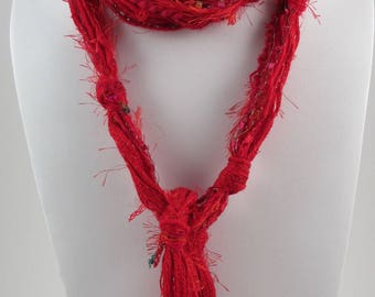 Red Scarf, Boho Clothing, Skinny Scarf, Scarves for Women, Hippie Clothes, Boho Scarf, Fringe Scarf, Womens Scarves