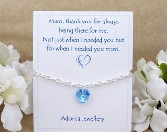 Personalised Gift for Mum, Swarovski Blue Crystal Bracelet, thank you, Gift For Mom Mam, March Birthstone Bracelet