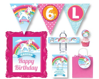 Unicorn Party Package, Unicorn Party Decorations, Rainbow Unicorn Party, Unicorn Decor, Unicorn Printable Party Pack