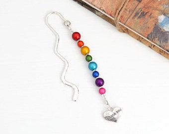Thank You Bookmark, Thank You Gift, Teacher Appreciation, Thank You Teacher Gift, Gift for Teachers, Teacher Thank You, Rainbow Bookmark