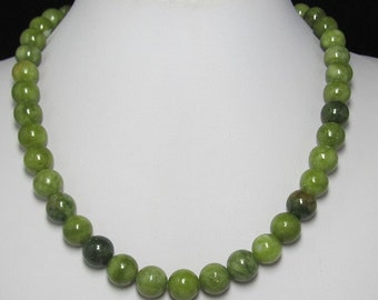 green kyanite 12mm and 925 Silver 19 inch Necklace