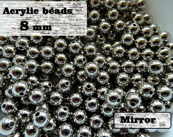 Acrylic silver beads 8mm / 8 mm Silver color acrylic beads mirror acrylic beads / Jewellery small beads 8mm / Acrylic mirror beads silver