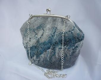 Gray bag Crossbody hobo bag makeup purses Vegan purse Fairytale gift Hippie bag embroidered bag Designer bag felted bag