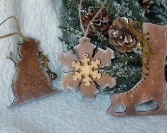 Xmas tree ornament Set of tree decoration Christmas wooden ornament  Rustic decoration Xmas tree decoration Small Christmas gift Wooden set