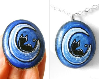 Crescent Moon Necklace, Black Cat Jewelry, Rock Art, Pet Owner Gift, Cat Memorial Painting, Hand Painted Pebble, Night Sky, Blue Pendant