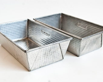 Vintage Ekco Ovenex Loaf Pans, Checker Pattern Bread Cake Baking Tin Metal Baking Dishes, Storage Containers