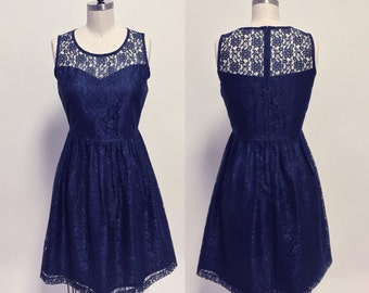 PROVENCE (Navy) :Navy blue lace dress, sweetheart neckline,  vintage, shirred skirt, chiffon sash, party, day, bridesmaid