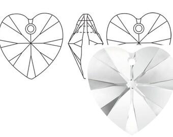 Swarovski 6228 Crystal Heart Pendant 18mm Crystal 1PC 3PC
