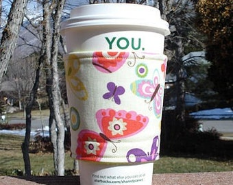 FREE SHIPPING UPGRADE with minimum -  Fabric coffee cozy / cup holder / coffee sleeve  / tea sleeve -- Colorful Butterfly